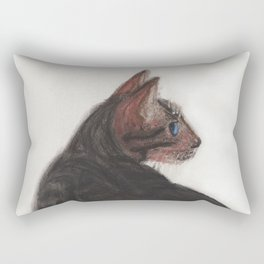 Dave the Bengal Cat, pastel, oil pastel, pencil, charcoal, by Candy Medusa, Black Dwarf Designs Rectangular Pillow