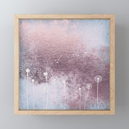 Dandelion Floral Drawing on Rose Gold Metal Framed Mini Art Print