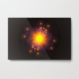Fractal with spirals and rings. Conceptual image of Sun Metal Print