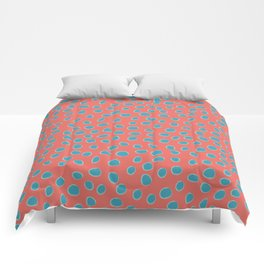 Living Coral and Turquoise, Teal Polka Dots Comforters