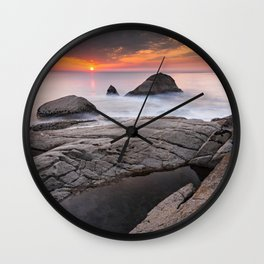 Orange sunset by the sea Wall Clock