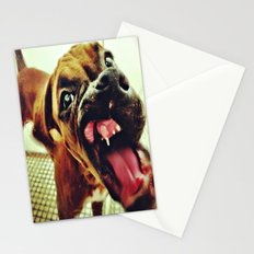 Boxer pup trying out her new teeth Stationery Cards