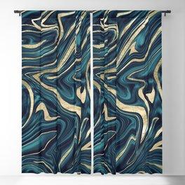Teal Navy Blue Gold Marble #1 #decor #art #society6 Blackout Curtain