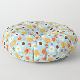 Trendy Breakfast & Coffee Food Pattern Floor Pillow