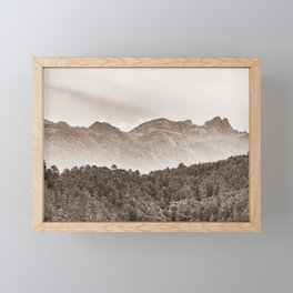 The mountain beyond the forest Framed Mini Art Print