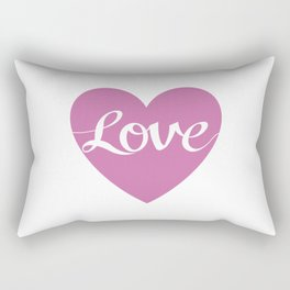 Love Script Pink Heart Design Rectangular Pillow