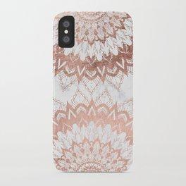 Modern chic rose gold floral mandala illustration on trendy white marble iPhone Case