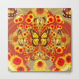RED YELLOW MONARCH BUTTERFLY WORLD FLORALS MODERN ART Metal Print
