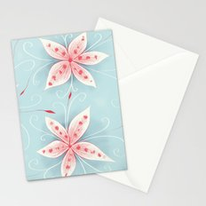 Beautiful Abstract Flowers In Red And White Stationery Cards