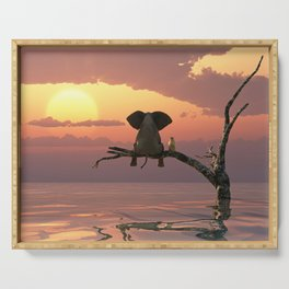 elephant and dog sit on a tree during a flood(2) Serving Tray