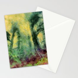 abstract misty forest painting hvhdstd Stationery Cards