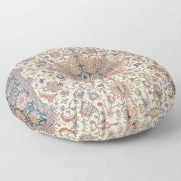 Fine Persia Tabriz Old Century Authentic Colorful Blue Rust Orange Vintage Patterns Floor Pillow