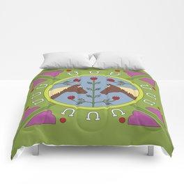 Horse Folk Art Illustration Comforters