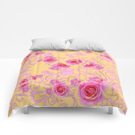 PINK-RED ROSE ABSTRACT FLORAL GARDEN ART Comforters