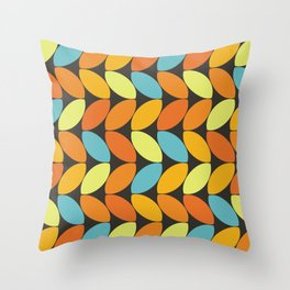 Retro 70s Color Palette Leaf Pattern II Throw Pillow