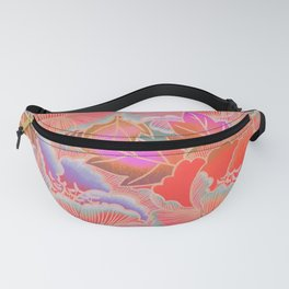 Peonies Pattern with Waves - Red, Pink, Purple, Green Fanny Pack