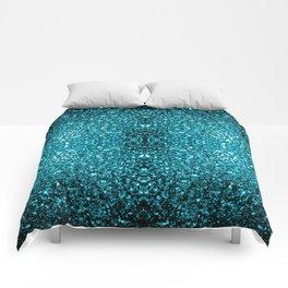 Beautiful Aqua blue glitter sparkles Comforters