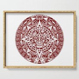 Mayan Calendar // Burgundy Serving Tray