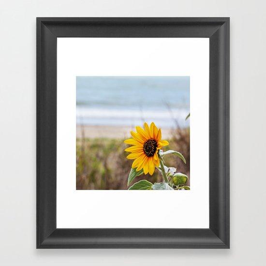 Sunflower near ocean Framed Art Print