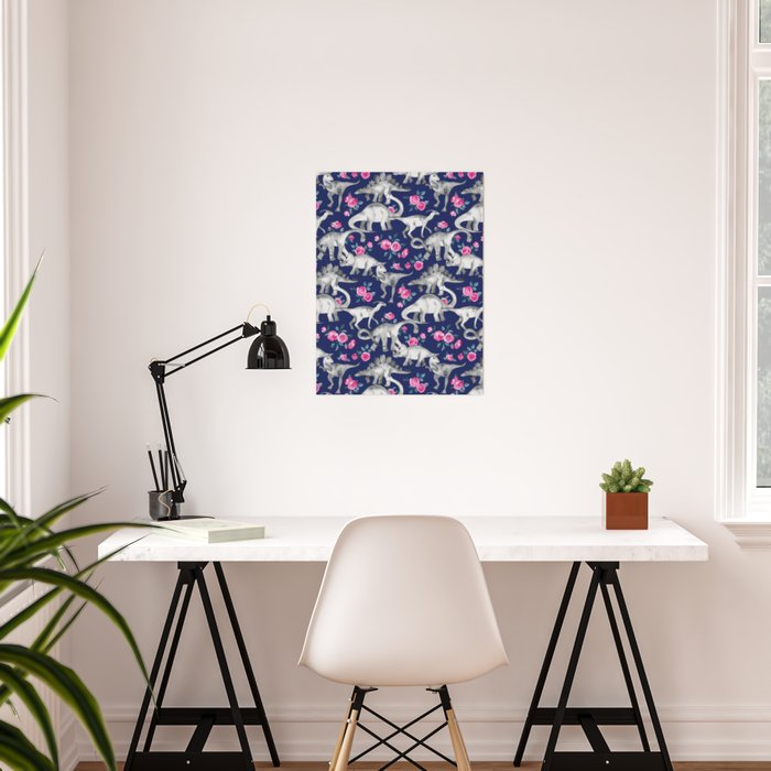 Dinosaurs and Roses on Dark Blue Purple Poster