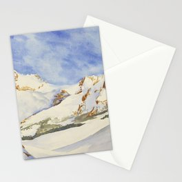 Swiss Alps watercolor landscape painting.  Watercolor of snow covered mountains in Switzerland. Stationery Cards