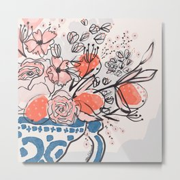 Oranges and Pink Peony Bouquet in Dutch Delft Blue Vase Metal Print