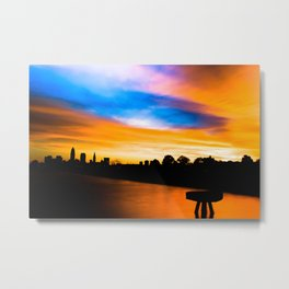 Cleveland Sunrise At Edgewater Park With Pier Metal Print