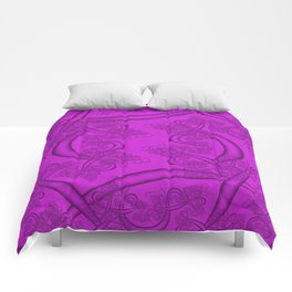 Dazzling Violet Fractal Comforters
