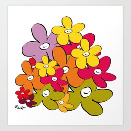 the power of the smiling flowers Art Print