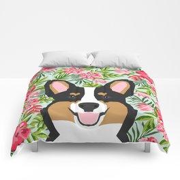 Tricolored Corgi Hawaiian Floral Print Comforters