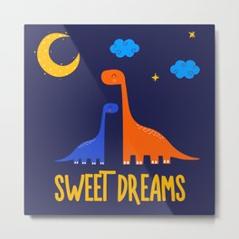 Dinosaurs At Night Blue Orange Green Dinosaur Kids Pattern Metal Print