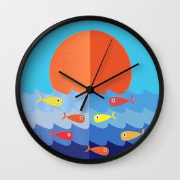 Fish fishing for friends Wall Clock