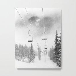 Ski Lift Moon Break // Riding the Mountain at Copper Colorado Luna Sky Peeking Foggy Clouds Metal Print