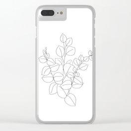 Minimalistic Eucalyptus  Line Art Clear iPhone Case