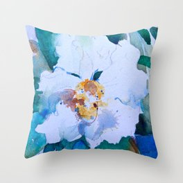 White Floral Blossom Throw Pillow