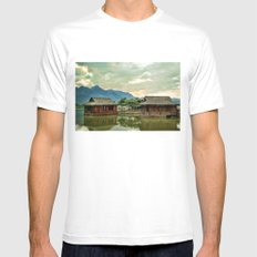 Water Huts White MEDIUM Mens Fitted Tee