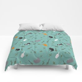 Cat Party Catnip Illustrated Print Pattern Comforters