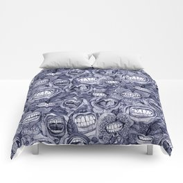 BITE ME roses and orchids INDIGO Comforters