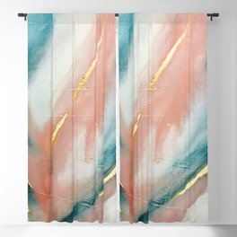 Celestial [3]: a minimal abstract mixed-media piece in Pink, Blue, and gold by Alyssa Hamilton Art Blackout Curtain