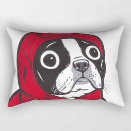 Red Hoodie Boston Terrier Rectangular Pillow