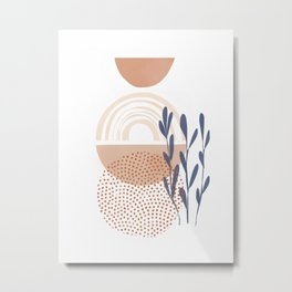 Classic Blue and baked Earth Theme Metal Print