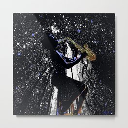 LADY JAZZ SAXOPHONE MUSIC AMONG THE STARS Metal Print