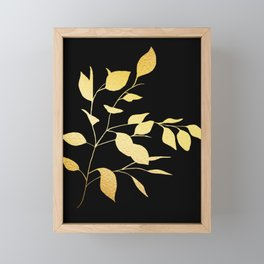 Gold & Black Leaves Framed Mini Art Print