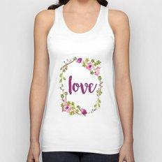 Floral Wreath Watercolor - Love - by Sarah Jane Design Unisex Tank Top
