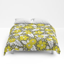 Yellow/Chartreuse, Gray, and White Floral/Botanical Pattern Comforters