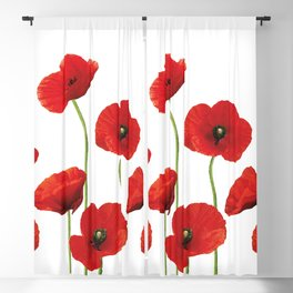 Poppies Field white background Blackout Curtain