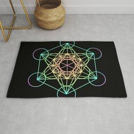 Metatron's Cube- Rainbow on Black Rug