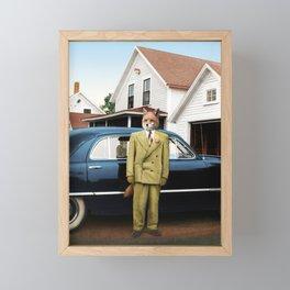 Mr. Fox posing with his new car Framed Mini Art Print