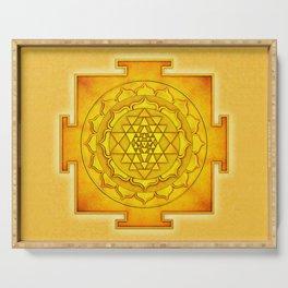 Golden Sri Yantra III Serving Tray