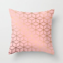 Pink and Gold Geometry 011 Throw Pillow
